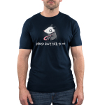 Please Don't Talk to Me Men's t-shirt Model TeeTurtle navy t-shirt featuring an opossum sitting down looking scared with its tail in its hands