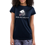 Please Don't Talk to Me Junior's t-shirt Model TeeTurtle navy t-shirt featuring an opossum sitting down looking scared with its tail in its hands
