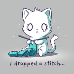 I Dropped a Stitch silver t-shirt featuring an anxious white cat knitting a green scarf with tiny white sparkles in the background.