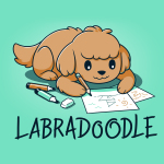 Labradoodle t-shirt TeeTurtle chill blue t-shirt featuring a brown lab dog on the floor coloring pictures of boats with pencils and markers around him
