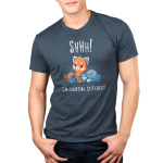 Shhh! I'm Counting Stitches! Men's t-shirt model TeeTurtle denim blue t-shirt featuring a red panda shushing someone while knitting a blue and light blue scarf while surrounded by large blue and light blue balls of yarn.