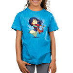 Mulan, Mushu, and Cri-Kee Kid's t-shirt model officially licensed colbalt blue t-shirt featuring Mulan, Mushu, and Cri-Kee in a group hug