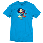 Mulan, Mushu, and Cri-Kee t-shirt officially licensed colbalt blue t-shirt featuring Mulan, Mushu, and Cri-Kee in a group hug