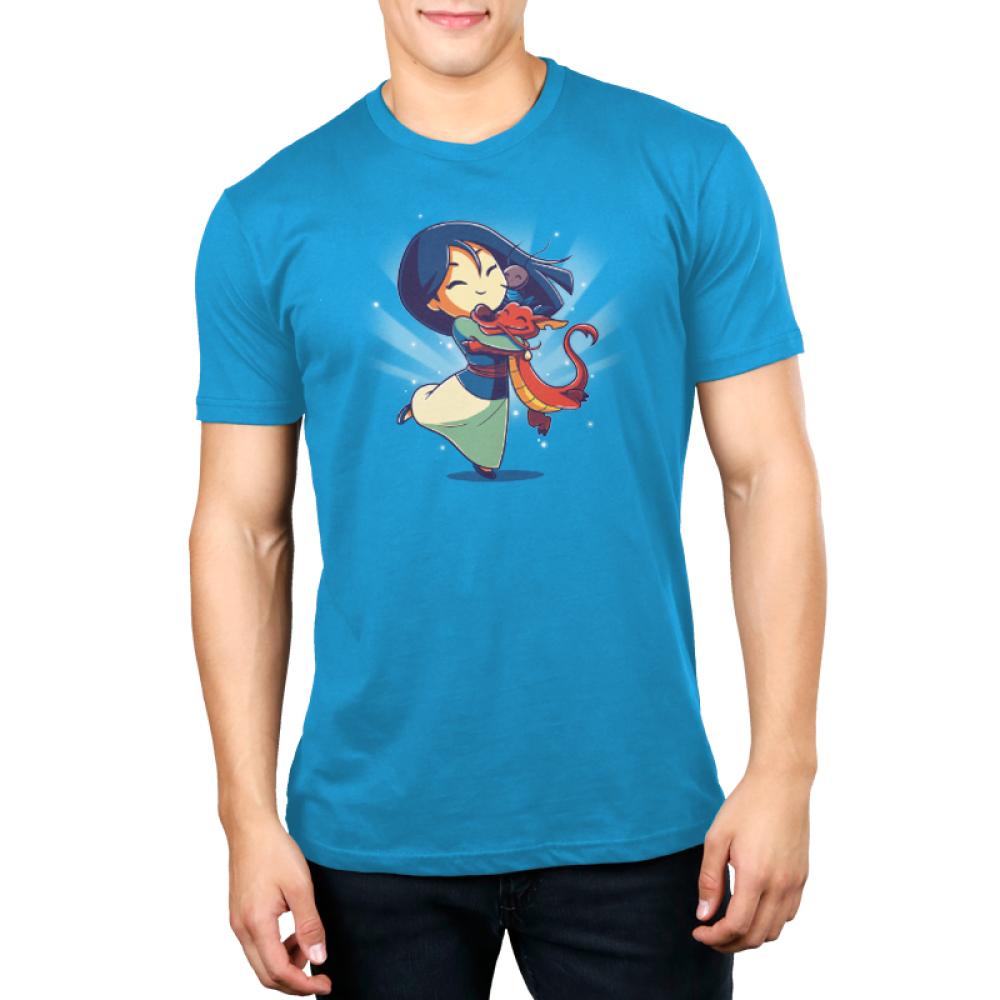 Mulan, Mushu, and Cri-Kee Men's t-shirt model officially licensed colbalt blue t-shirt featuring Mulan, Mushu, and Cri-Kee in a group hug