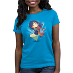 Mulan, Mushu, and Cri-Kee Women's t-shirt model officially licensed colbalt blue t-shirt featuring Mulan, Mushu, and Cri-Kee in a group hug