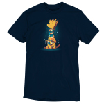 World's Longest Scarf t-shirt TeeTurtle navy t-shirt featuring a yellow and orange giraffe sitting down knitting a scarf as it wraps around its long neck