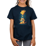 World's Longest Scarf Kid's t-shirt model TeeTurtle navy t-shirt featuring a yellow and orange giraffe sitting down knitting a scarf as it wraps around its long neck