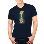 World's Longest Scarf Men's t-shirt model TeeTurtle navy t-shirt featuring a yellow and orange giraffe sitting down knitting a scarf as it wraps around its long neck