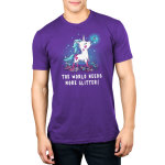 The World Needs More Glitter Men's t-shirt model TeeTurtle purple t-shirt featuring a white unicorn with blue fur with pink glitter all over her holding a paint brush in her mouth and crafting supplies scattered by her feet