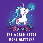 The World Needs More Glitter t-shirt TeeTurtle purple t-shirt featuring a white unicorn with blue fur with pink glitter all over her holding a paint brush in her mouth and crafting supplies scattered by her feet