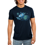 Galactic Crafts Men's t-shirt model TeeTurtle navy t-shirt featuring a white cat in a spaceship with its mouth wide open and paws on the window flying around big planets that are in the shape of yarn balls
