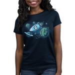 Galactic Crafts Women's t-shirt model TeeTurtle navy t-shirt featuring a white cat in a spaceship with its mouth wide open and paws on the window flying around big planets that are in the shape of yarn balls