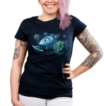 Galactic Crafts Junior's t-shirt model TeeTurtle navy t-shirt featuring a white cat in a spaceship with its mouth wide open and paws on the window flying around big planets that are in the shape of yarn balls