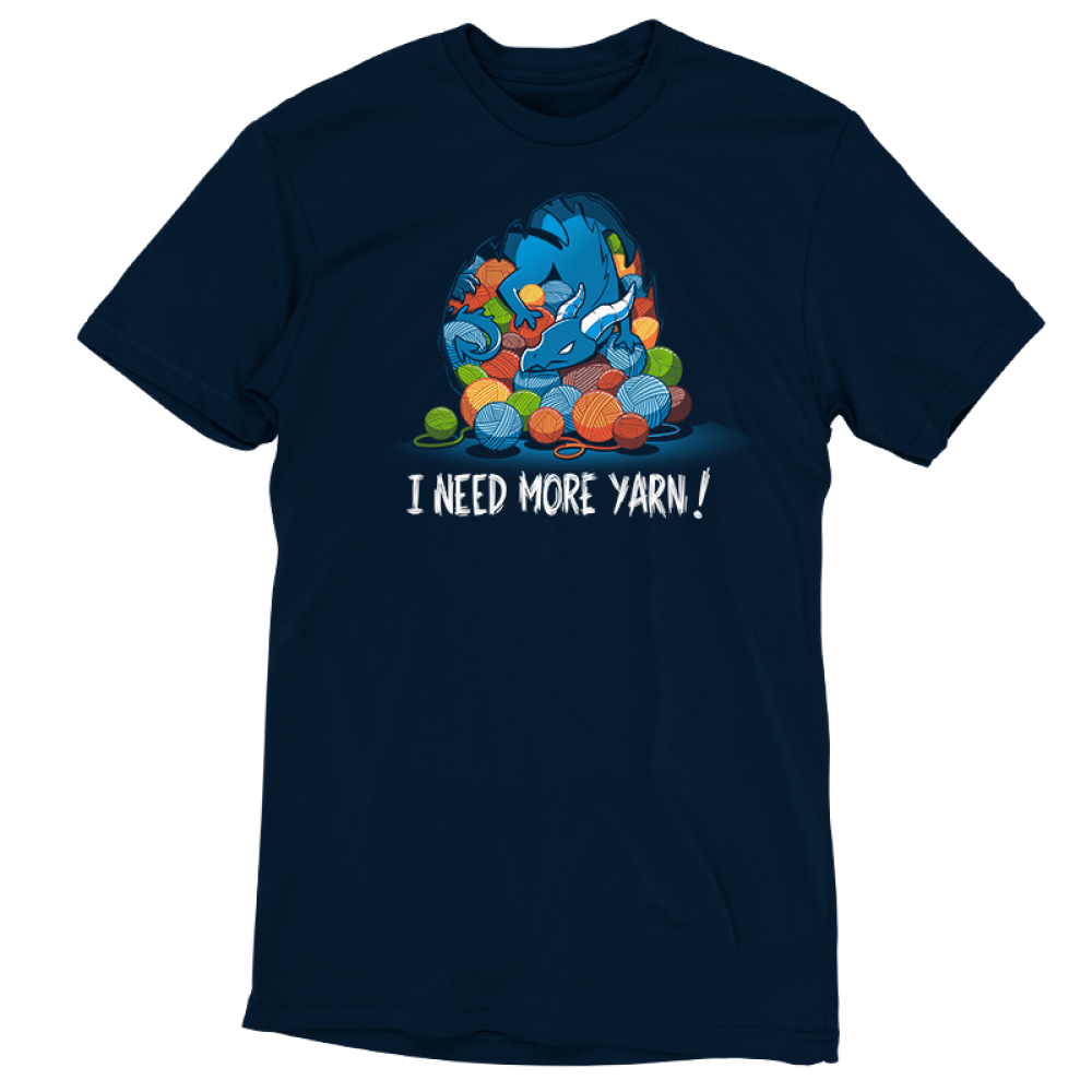 Yarn Hoarder t-shirt TeeTurtle navy t-shirt featuring a blue dragon on top of a huge pile of multi colored yarn balls