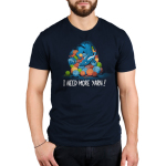 Yarn Hoarder Men's t-shirt model TeeTurtle navy t-shirt featuring a blue dragon on top of a huge pile of multi colored yarn balls