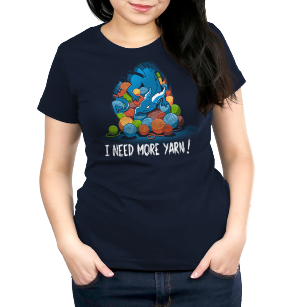 Yarn Hoarder Women's t-shirt model TeeTurtle navy t-shirt featuring a blue dragon on top of a huge pile of multi colored yarn balls