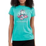 Keep Calm and Craft Junior's t-shirt model TeeTurtle Caribbean blue t-shirt featuring an anxious white cat wearing a green bow while knitting a green and pink scarf while surrounded by drawing, baking, sculpting, and painting materials.