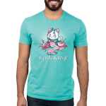 Keep Calm and Craft Men's t-shirt model TeeTurtle Caribbean blue t-shirt featuring an anxious white cat wearing a green bow while knitting a green and pink scarf while surrounded by drawing, baking, sculpting, and painting materials.