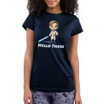 Hello There Junior's t-shirt model officially licensed navy t-shirt featuring Obi-Wan Kenobi with his hand on his hip and a blue lightsaber in the other hand