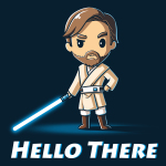Hello There t-shirt officially licensed navy t-shirt featuring Obi-Wan Kenobi with his hand on his hip and a blue lightsaber in the other hand