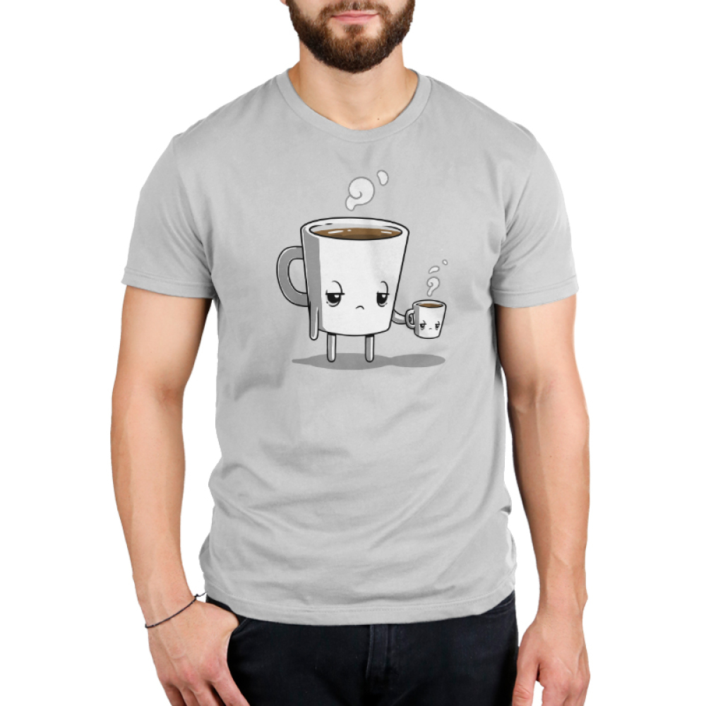 Tired Coffee Men's t-shirt model TeeTurtle silver t-shirt featuring a giant coffee cup with arms and legs with a tired expression that's full of brown coffee with steam coming out of its head holding a smaller version of it without arms and legs.