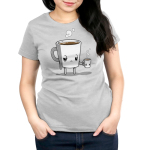 Tired Coffee Women's t-shirt model TeeTurtle silver t-shirt featuring a giant coffee cup with arms and legs with a tired expression that's full of brown coffee with steam coming out of its head holding a smaller version of it without arms and legs.
