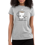 Tired Coffee Junior's t-shirt model TeeTurtle silver t-shirt featuring a giant coffee cup with arms and legs with a tired expression that's full of brown coffee with steam coming out of its head holding a smaller version of it without arms and legs.