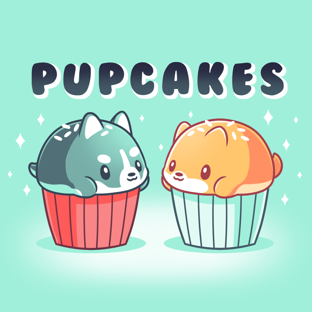 Pupcakes chill blue t-shirt featuring a husky puppy in the shape of a cupcake with white sprinkles with a red wrapper on the left-hand side, and a corgi puppy in the shape of a cupcake with white sprinkles and a chill blue wrapper on the right-hand side with a sparkly background.