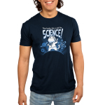 This Looks Like a Job for Science Men's t-shirt model TeeTurtle navy t-shirt featuring a white cat in a white coat revealing a shirt with an