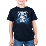 This Looks Like a Job for Science Kid's t-shirt model TeeTurtle navy t-shirt featuring a white cat in a white coat revealing a shirt with an