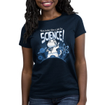 This Looks Like a Job for Science Women's t-shirt model TeeTurtle navy t-shirt featuring a white cat in a white coat revealing a shirt with an