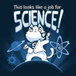 This Looks Like a Job for Science t-shirt TeeTurtle navy t-shirt featuring a white cat in a white coat revealing a shirt with an