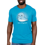 Seal of Approval Men's t-shirt model TeeTurtle cobalt blue t-shirt featuring a blue seal giving two thumbs up