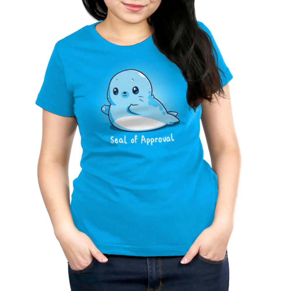 Seal of Approval Women's t-shirt model TeeTurtle cobalt blue t-shirt featuring a blue seal giving two thumbs up