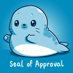 Seal of Approval t-shirt TeeTurtle cobalt blue t-shirt featuring a blue seal giving two thumbs up