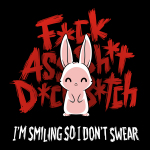 I'm Smiling so I Don't Swear t-shirt TeeTurtle black t-shirt featuring a white bunny giving a smile with big red curse words behind him