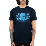 IDGAF Octopus Men's t-shirt model TeeTurtle navy t-shirt featuring a blue octopus looking angry holding up all its tentacles with the tips blurred out like he is giving the finger