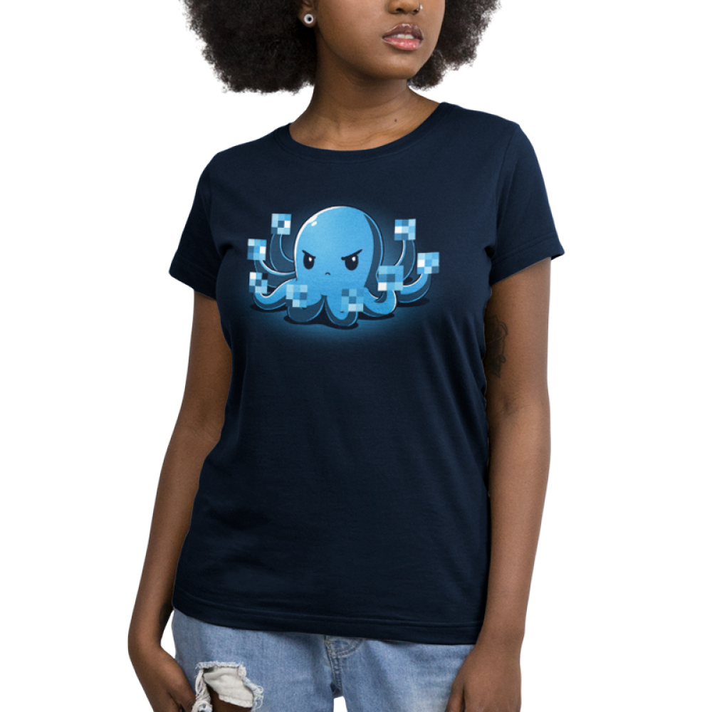 IDGAF Octopus Women's t-shirt model TeeTurtle navy t-shirt featuring a blue octopus looking angry holding up all its tentacles with the tips blurred out like he is giving the finger