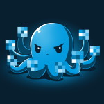 IDGAF Octopus t-shirt TeeTurtle navy t-shirt featuring a blue octopus looking angry holding up all its tentacles with the tips blurred out like he is giving the finger