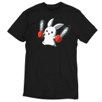 Running with Chainsaws t-shirt TeeTurtle black t-shirt featuring a white smiling bunny running with two red chainsaws, one in each hand