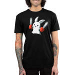 Running with Chainsaws Men's t-shirt model TeeTurtle black t-shirt featuring a white smiling bunny running with two red chainsaws, one in each hand