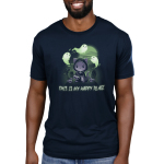 Graveyards are My Happy Place Men's t-shirt model TeeTurtle navy t-shirt featuring a cat in a cloak with a chain around its chest holding a big hook with skulls around him, grave stones in the background, a full moon, and ghosts flying around
