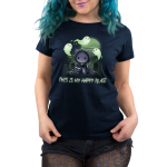Graveyards are My Happy Place Women's t-shirt model TeeTurtle navy t-shirt featuring a cat in a cloak with a chain around its chest holding a big hook with skulls around him, grave stones in the background, a full moon, and ghosts flying around