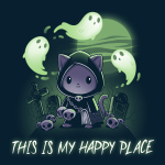 Graveyards are My Happy Place t-shirt TeeTurtle navy t-shirt featuring a cat in a cloak with a chain around its chest holding a big hook with skulls around him, grave stones in the background, a full moon, and ghosts flying around