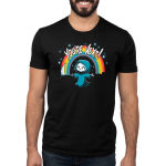 You're Next Men's t-shirt model TeeTurtle black t-shirt featuring a smiling grim reaper in his cloak holding out his scythe with a rainbow and sparkles behind him