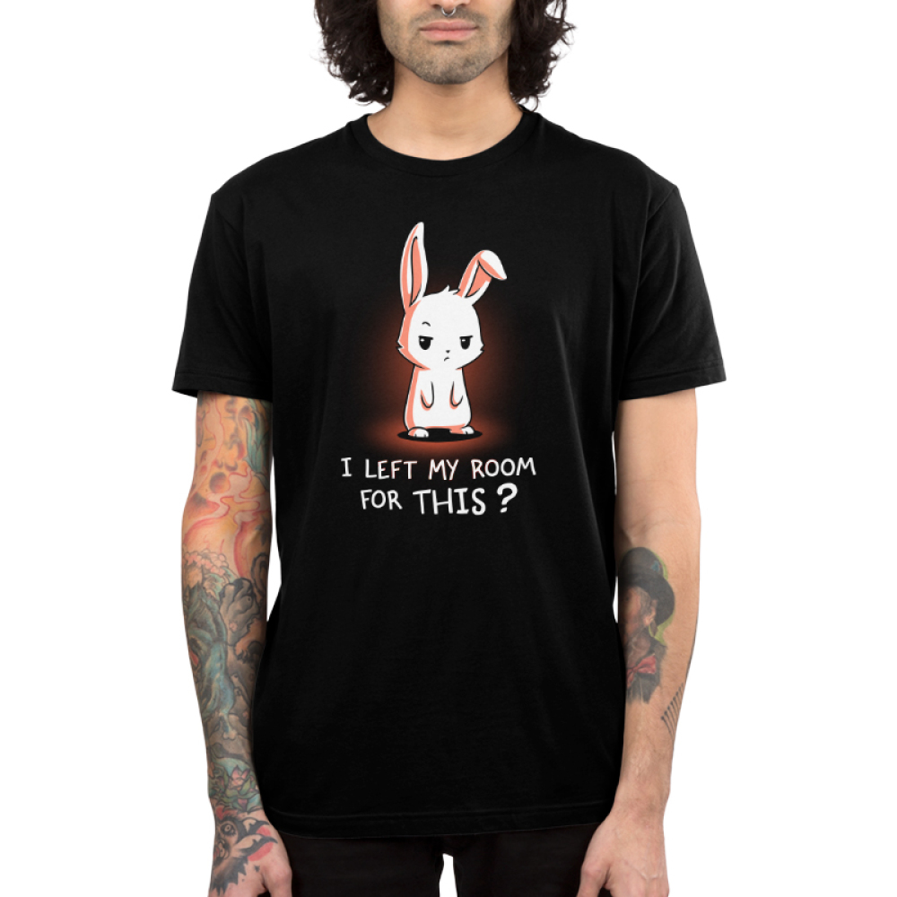 I Left My Room For This? Men's t-shirt model TeeTurtle black t-shirt featuring a white bunny looking unimpressed