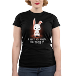 I Left My Room For This? Junior's t-shirt model TeeTurtle black t-shirt featuring a white bunny looking unimpressed
