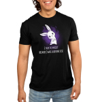 I Hate Everyone Men's t-shirt model TeeTurtle black t-shirt featuring a white smiling bunny with its head tilted to the left with a purple fire shape behind him