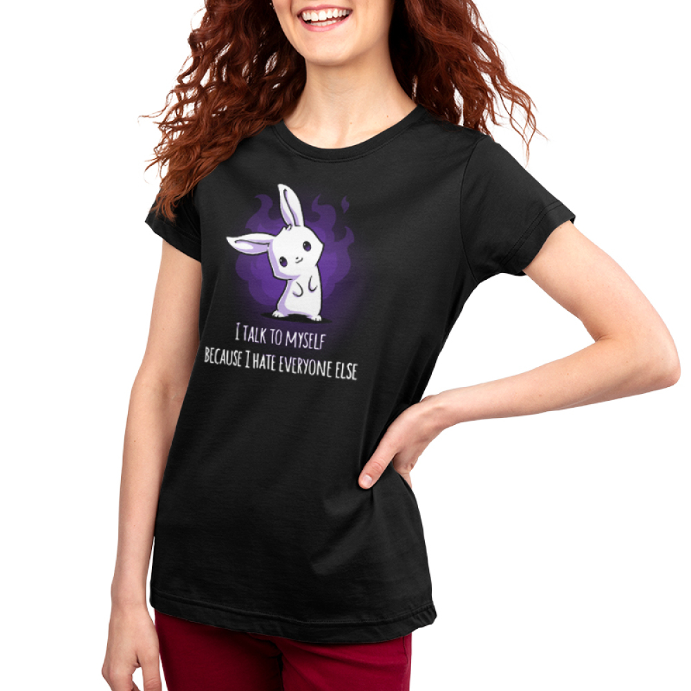 I Hate Everyone Women's t-shirt model TeeTurtle black t-shirt featuring a white smiling bunny with its head tilted to the left with a purple fire shape behind him