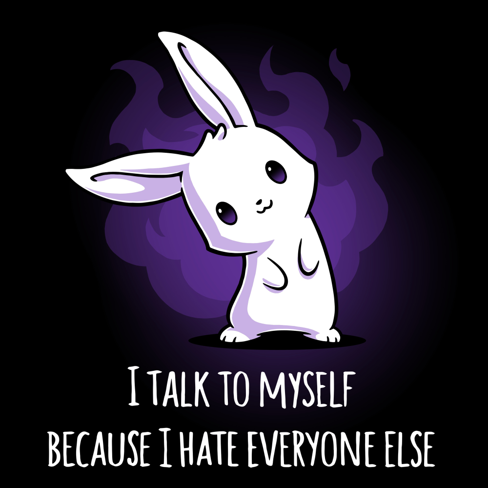 I Hate Everyone t-shirt TeeTurtle black t-shirt featuring a white smiling bunny with its head tilted to the left with a purple fire shape behind him